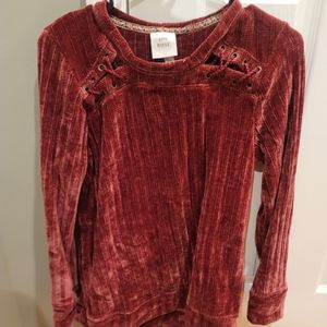 Red velour sweater